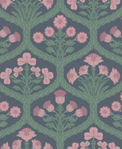 116/3010 Floral Kingdom - Rose & Forest on Charcoal