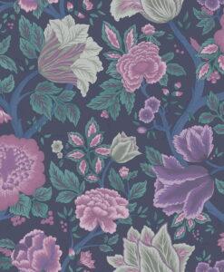 116/4015 Midsummer Bloom - Mulberry, Purple & Teal on Ink