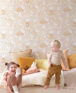 Garden Party Wallpaper by Majvillan in Sandy Grey