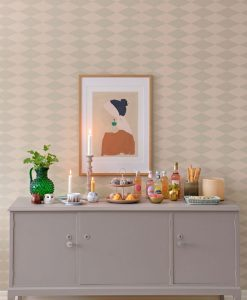 Copenhagen Wallpaper by Majvillan in Beige Green