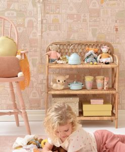 Dollhouse Wallpaper by Majvillan in Sunny Pink