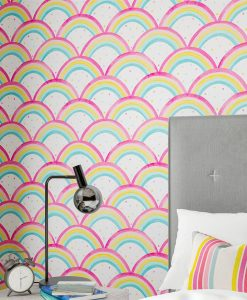 Wish upon this rainbow and make design dreams come true! Glorious vibrant colours create the perfect arch in this utterly joyous wallpaper. Cheerful and energetic, pair with Bon Bon fabric and revel in the happiness of this Harlequin wallpaper.